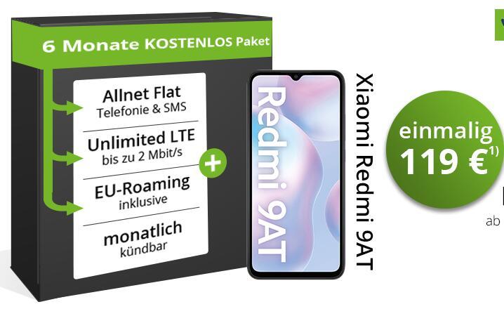 Zwischenparken: Xiaomi Redmi 9AT + bis zu 6 Monate mobilcom-debitel Telefonica Unlimited Flat für zusammen 119€