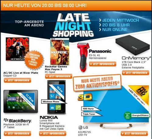 Saturn Late Night Shopping - LG 42LM671S für 779 € (20. Februar 2013)