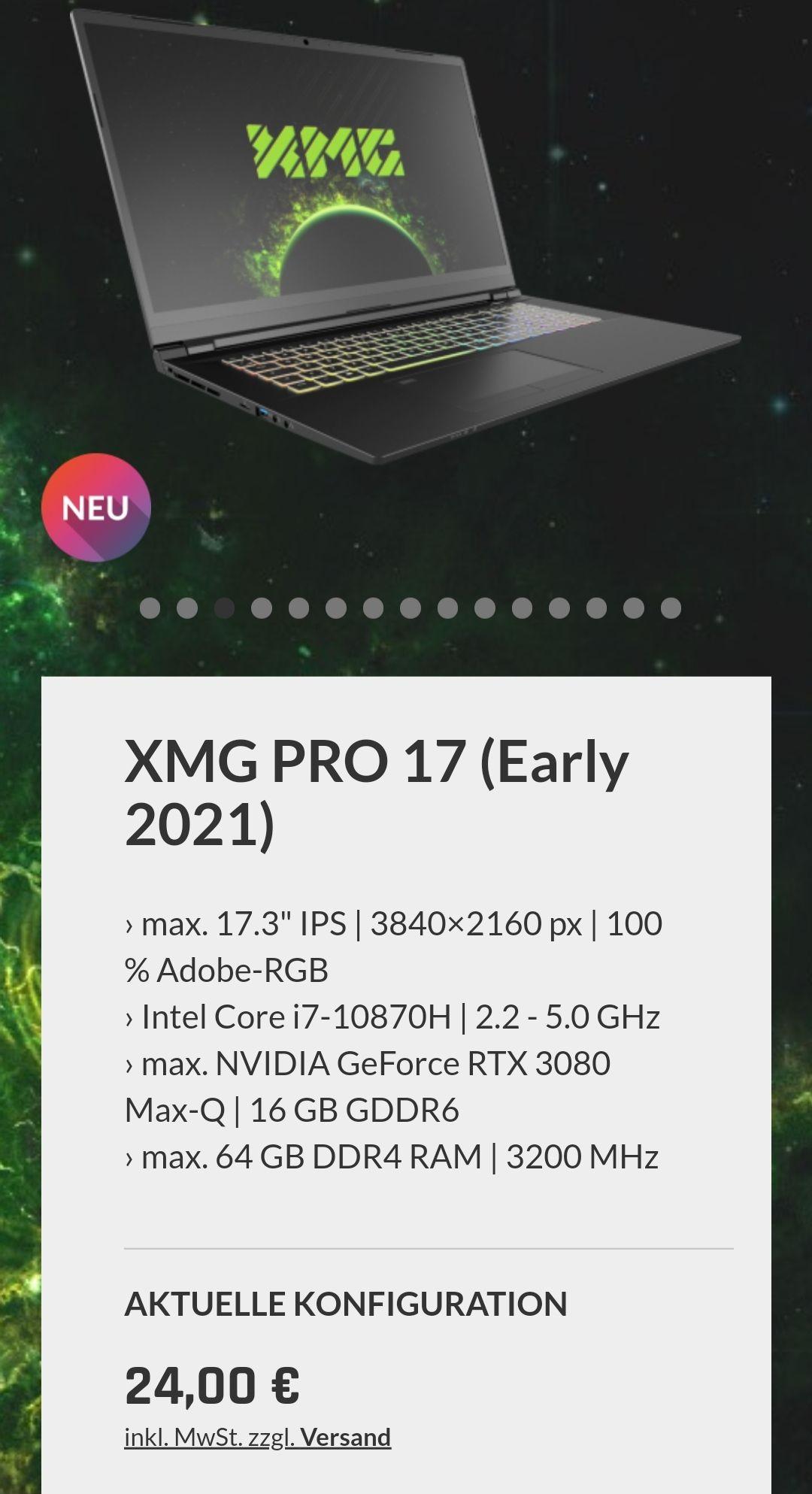 Preisfehler XMG Pro 17 2021 Laptop