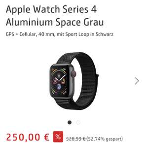 Apple Watch Series 4 Aluminium Space Grau GPS + Cellular, 40 mm, mit Sport Loop in Schwarz