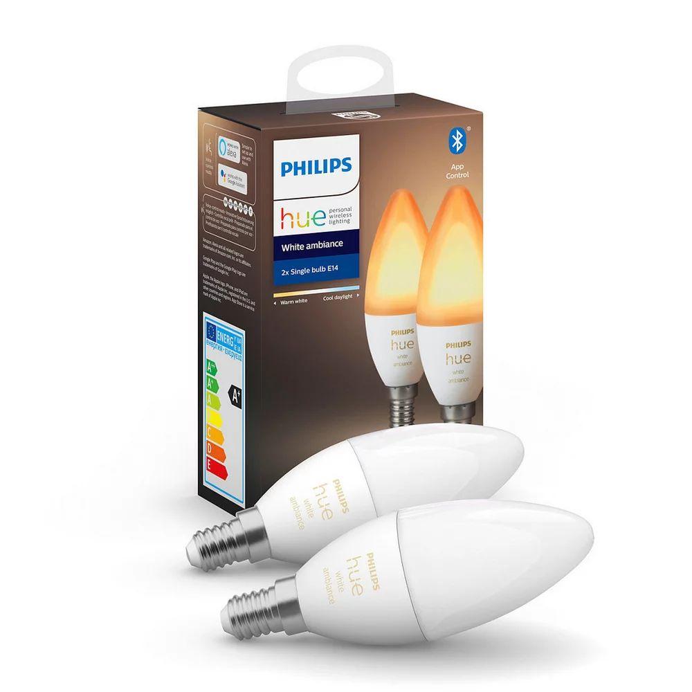 Philips Hue Sammeldeal: z. B. Doppelpack Hue E14 White & Ambiance mit Bluetooth zum Bestpreis