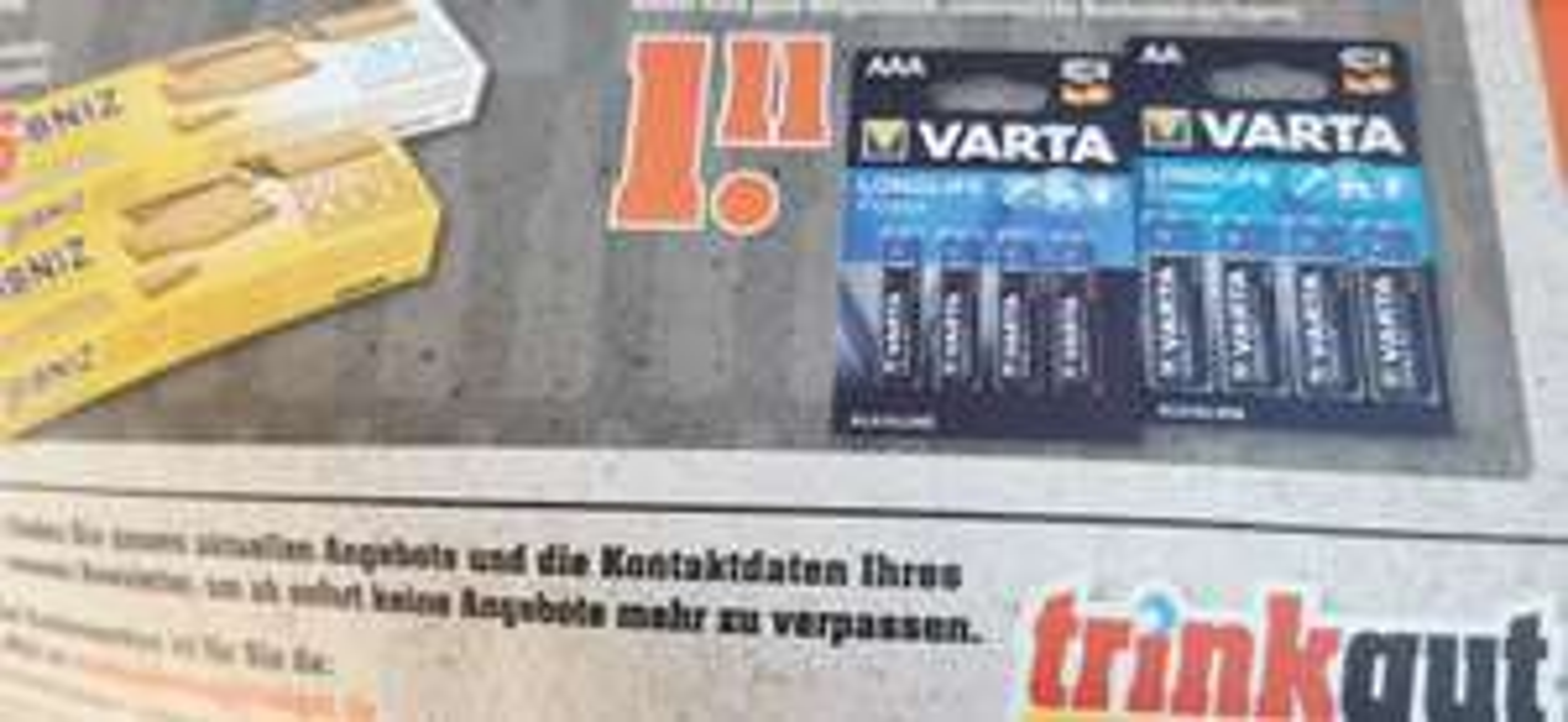 Batterie AA / AAA 4 Stück VARTA LONGLIFE POWER TRINKGUT AB 18.01.2021