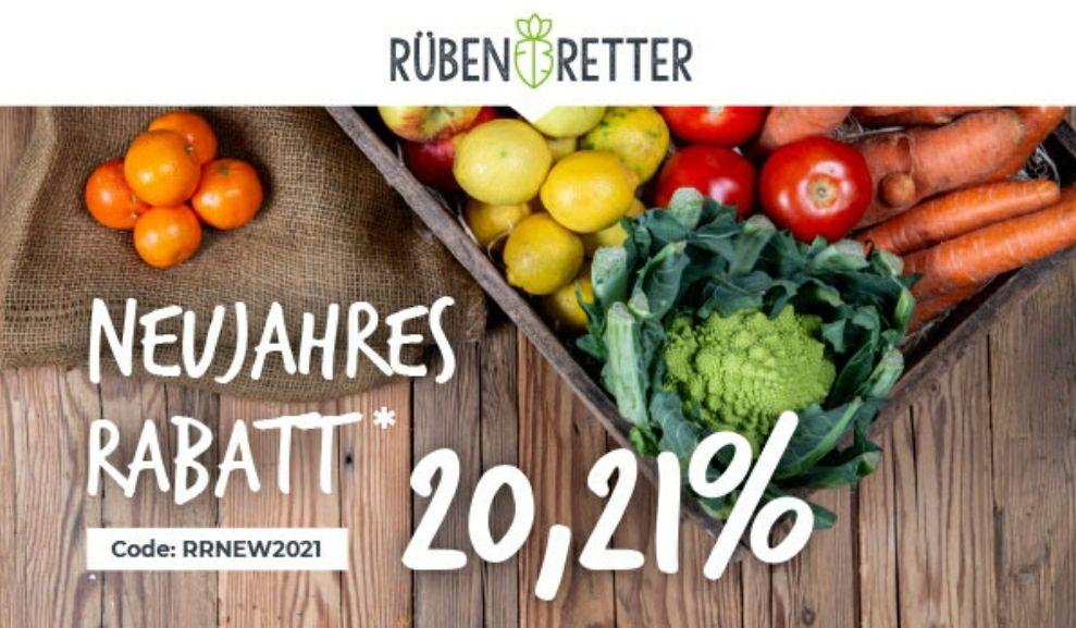 20,21% Rabatt (mind. 3,84€) auf die erste Box bei Rübenretter