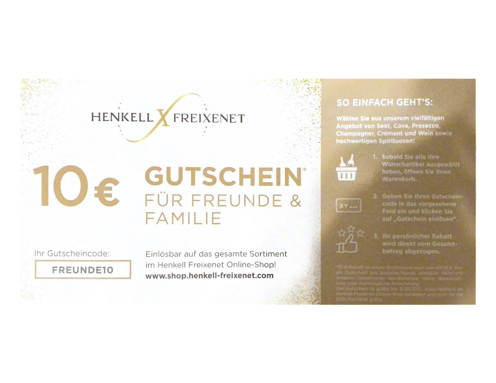 Henkell & Freixenet - 10€ Gutschein