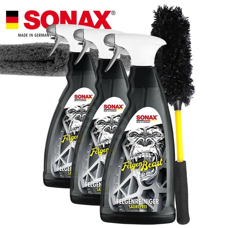 SONAX FelgenBeast 3x 1L + Premium Felgenbürste & Mikrofasertuch