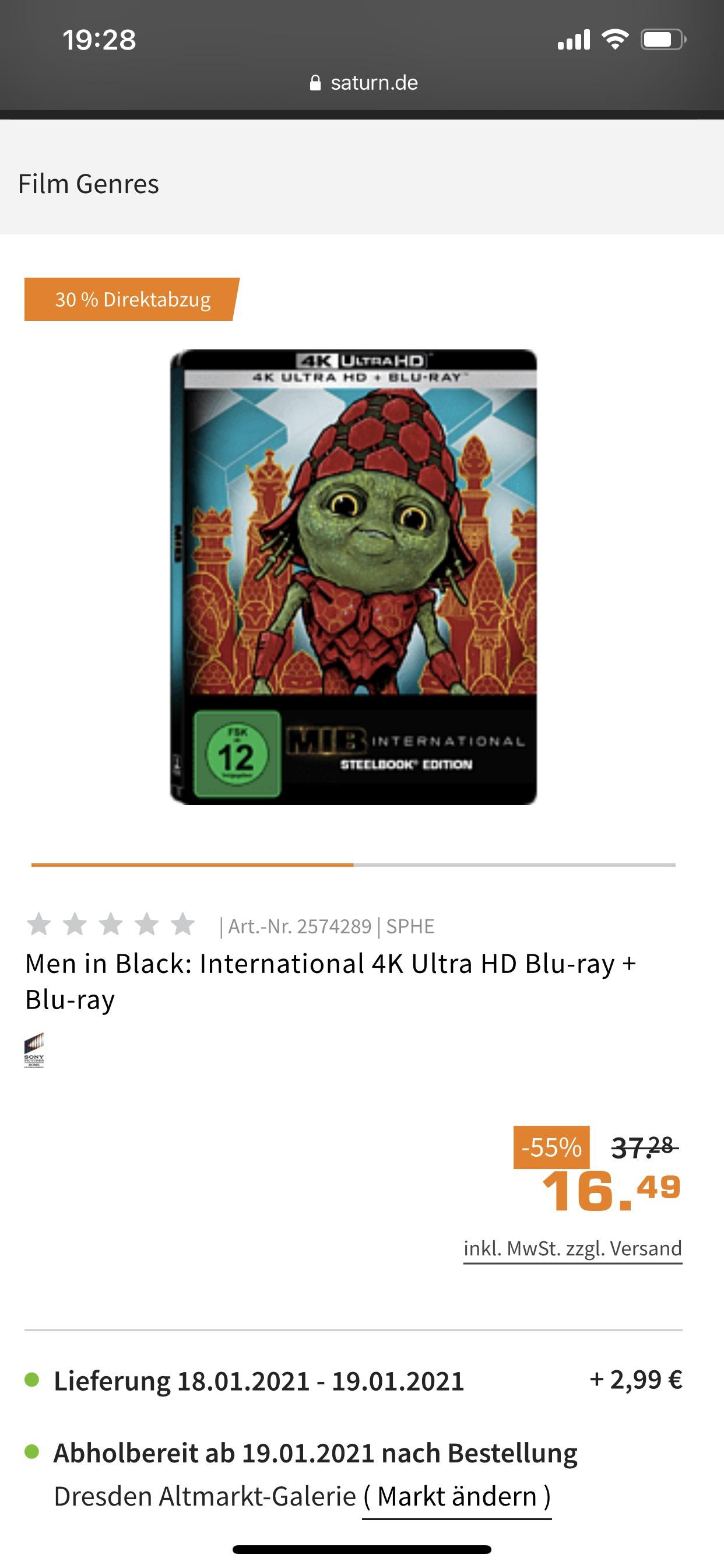 MEN IN BLACK: INTERNATIONAL - (4K BLU-RAY Steelbook)