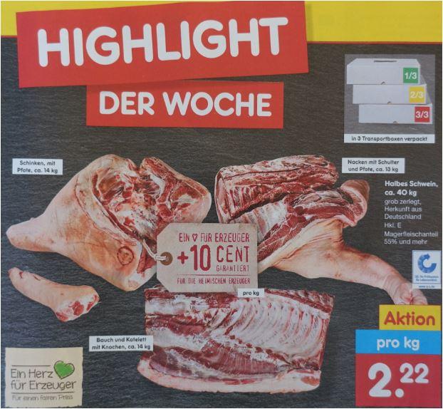 Ein halbes Schwein 40 kg in 3 Paketen für 88,80 Euro [Netto MD] oder 40 kg für 91,60 Euro [Kaufland]