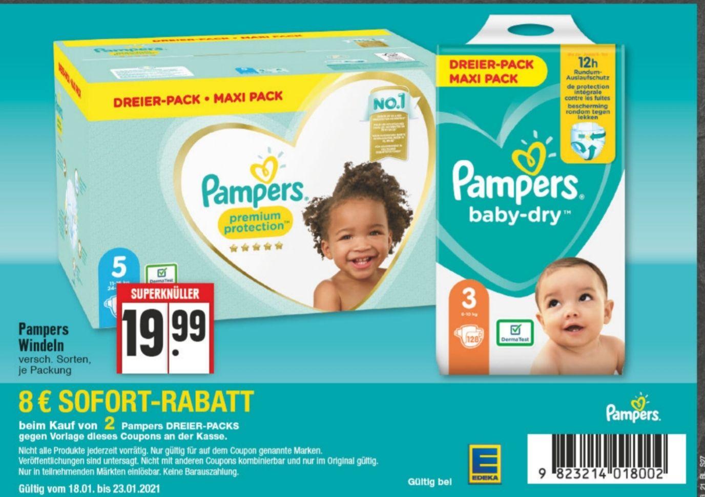 [NRW Edeka] Pampers baby-dry, Premium Protection etc. Dreierpack 8€ Rabatt