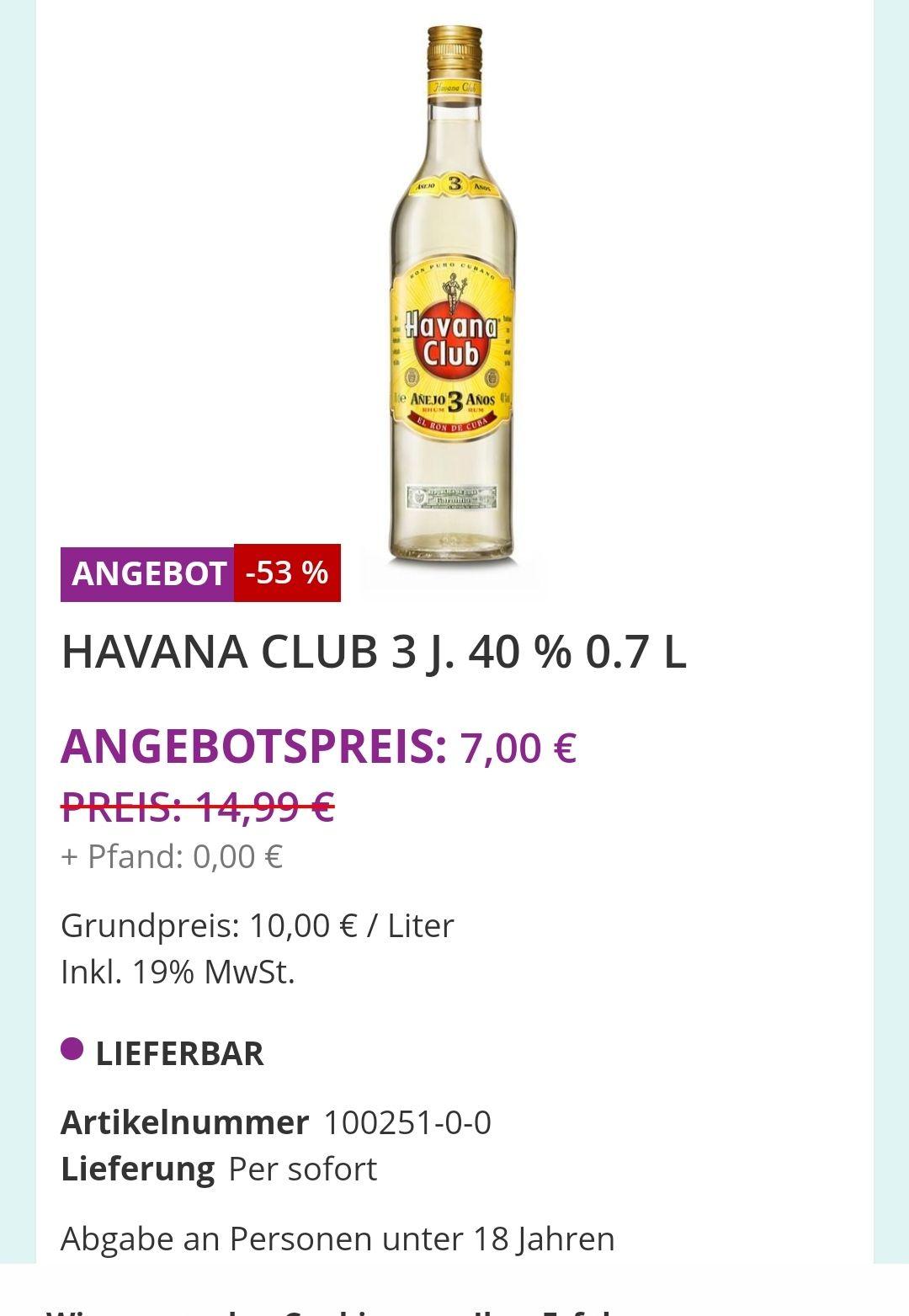 [Lokal München] Durstexpress Havanna Club 0,7l für 7 Euro