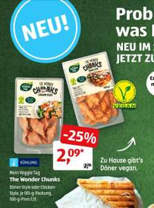 Vegan -The Wonder Chunks Döner Style / Chicken Style bei Aldi Süd für 2,09 Euro