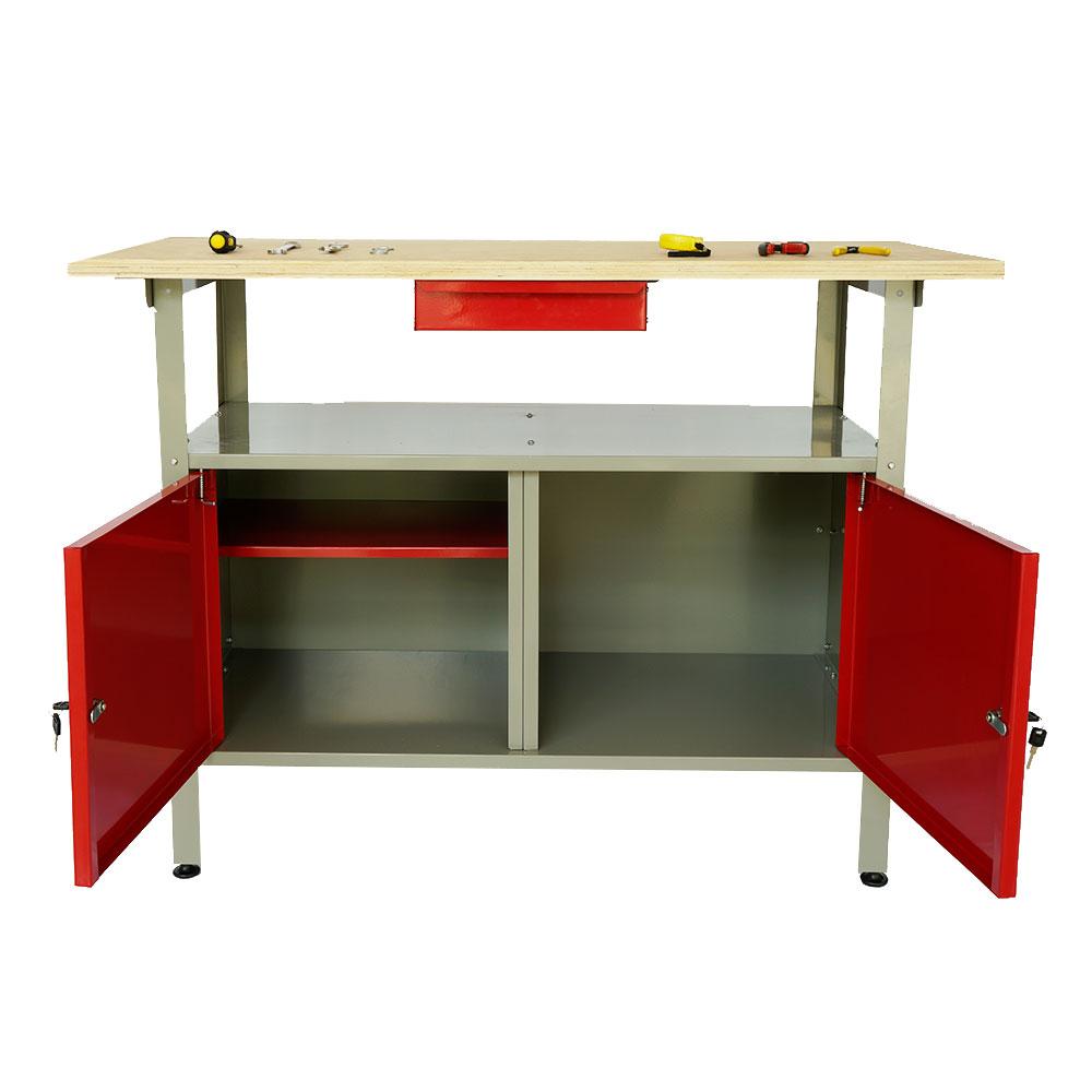 Kraft Werkbank 120x60x87,5 cm mit abschließbaren Türen und Schublade