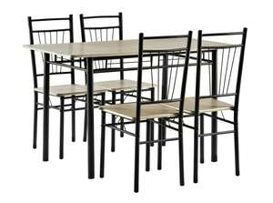 Esstisch mit 4 Stühlen im Set, Stahlgestell, Eichendekor
