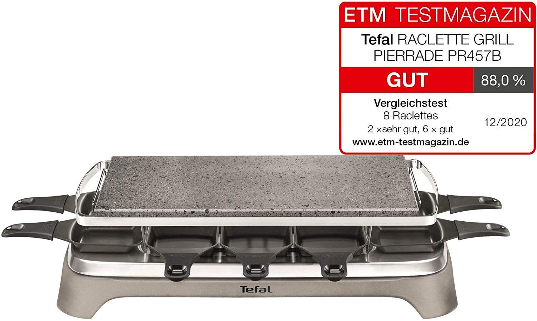Tefal PR457B Pierrade Raclette   1350 Watt   Grill-Platte aus Stein + 10 antihaftbeschichtete Pfännchen   inkl. Schaber   abnehmbares Kabel