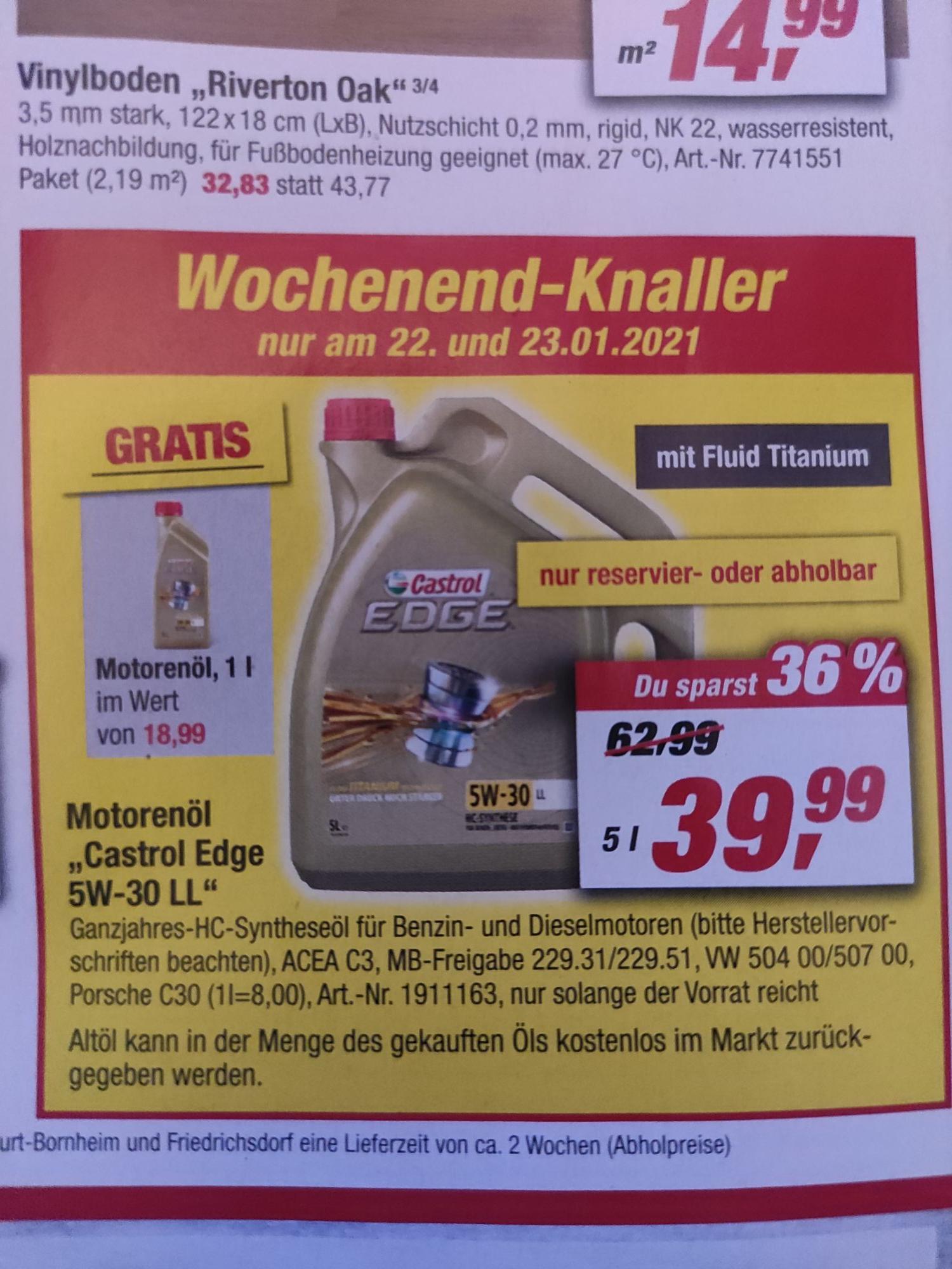 [TOOM] 5+1 Liter Castrol Edge 5w-30 LL (VW, MB, Porsche, ACEA C3) Motoröl (6,66 € pro Liter)