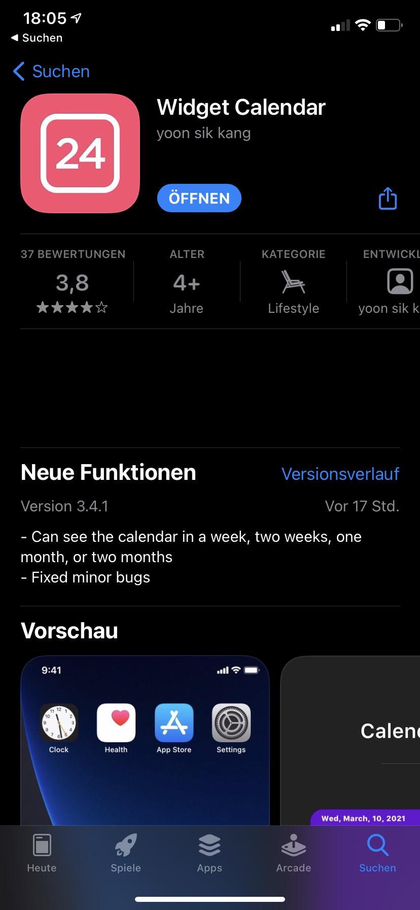 Widget calendar iOS app derzeit kostenlos (Englisch)
