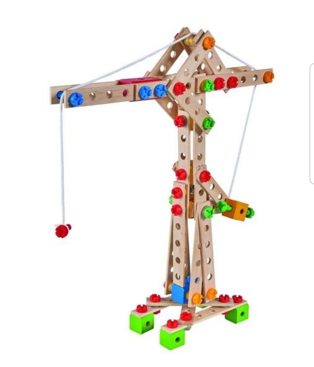 Eichhorn Constructor   170-teilig   5 versch. Modelle   z.B. Kran   Holz-Konstruktions-Set   inkl. Schrauben und Werkzeug   Holz Spielzeug