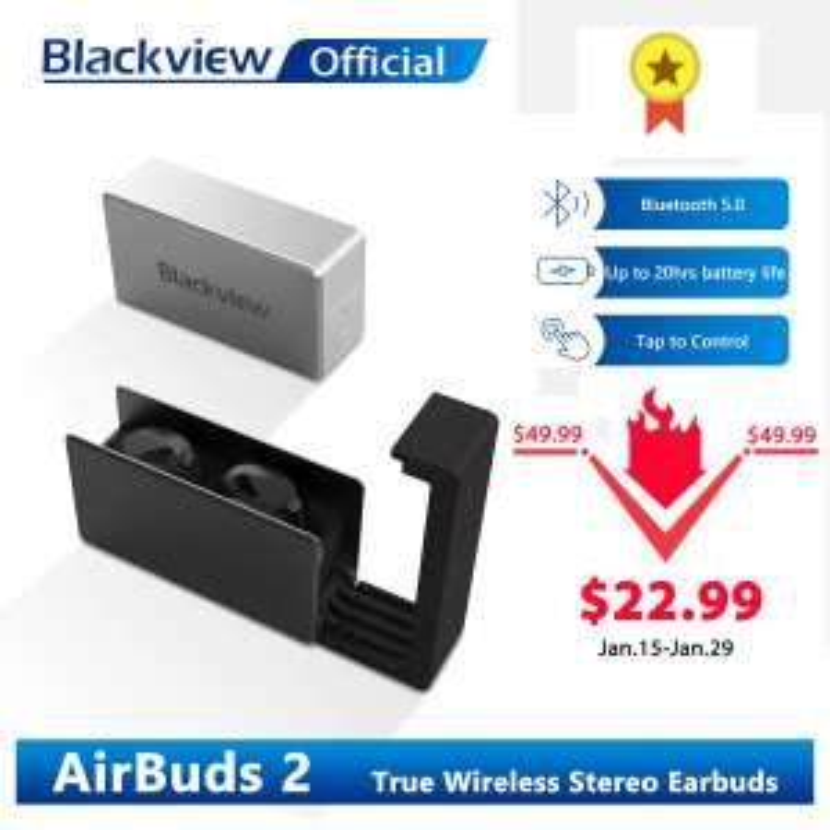 Blackview AirBuds 2 TWS-Kopfhörer mit Bluetooth 5.0