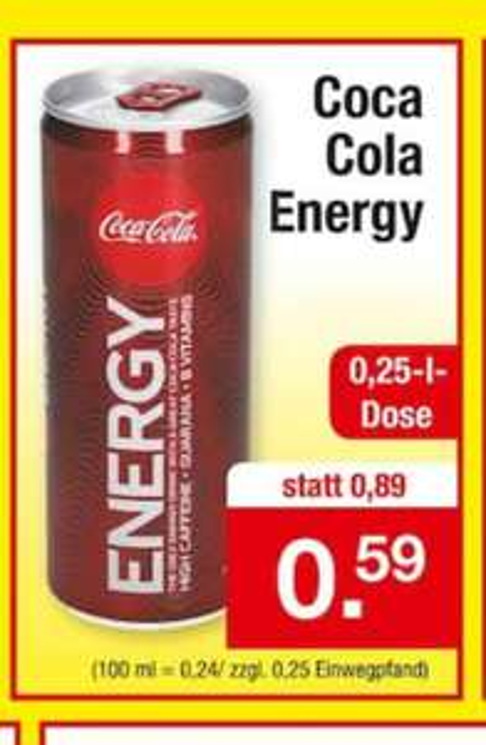 Coca Cola Energy 0,59 Euro