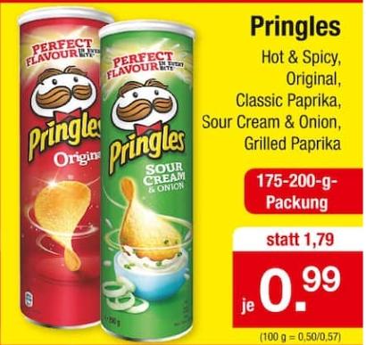 [Zimmermann ab 18.01] Pringles in verschiedenen Sorten je 175 bis 200g Packung für je 0,99€