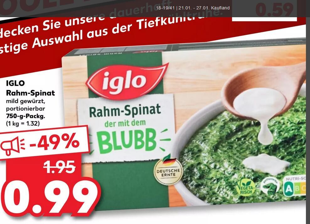 [Kaufland + V-Markt] Iglo Rahm-Spinat 750g ... Fischstäbchen