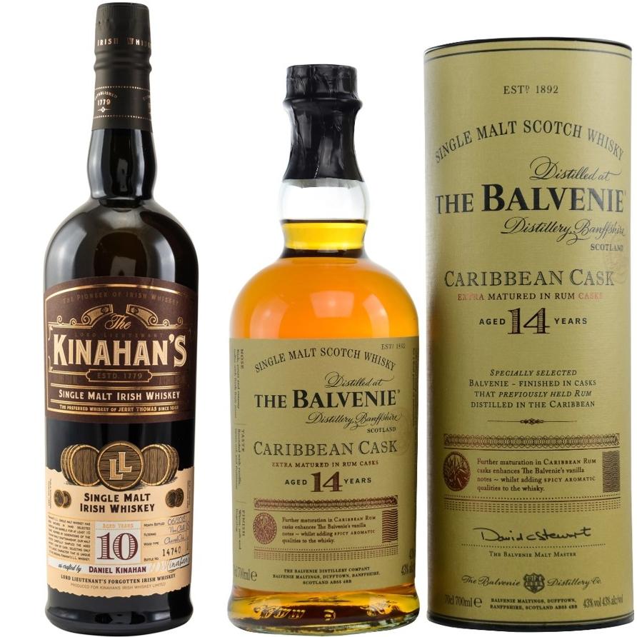 Whisky-Übersicht #68: z.B. Kinahan's 10 Jahre Single Malt Irish Whiskey für 48,45€, The Balvenie 14 Caribbean Cask für 54,35€ inkl. Versand