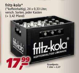 real,- fritz-kola (versch. Sorten) 24 x 0,33 Liter Kasten zzgl. Pfand