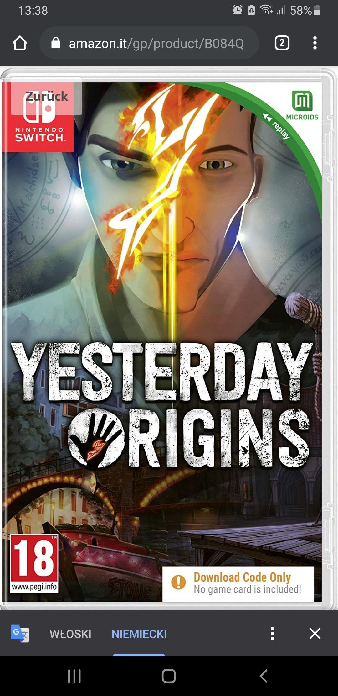 Yesterday OriginsNintendo Switch
