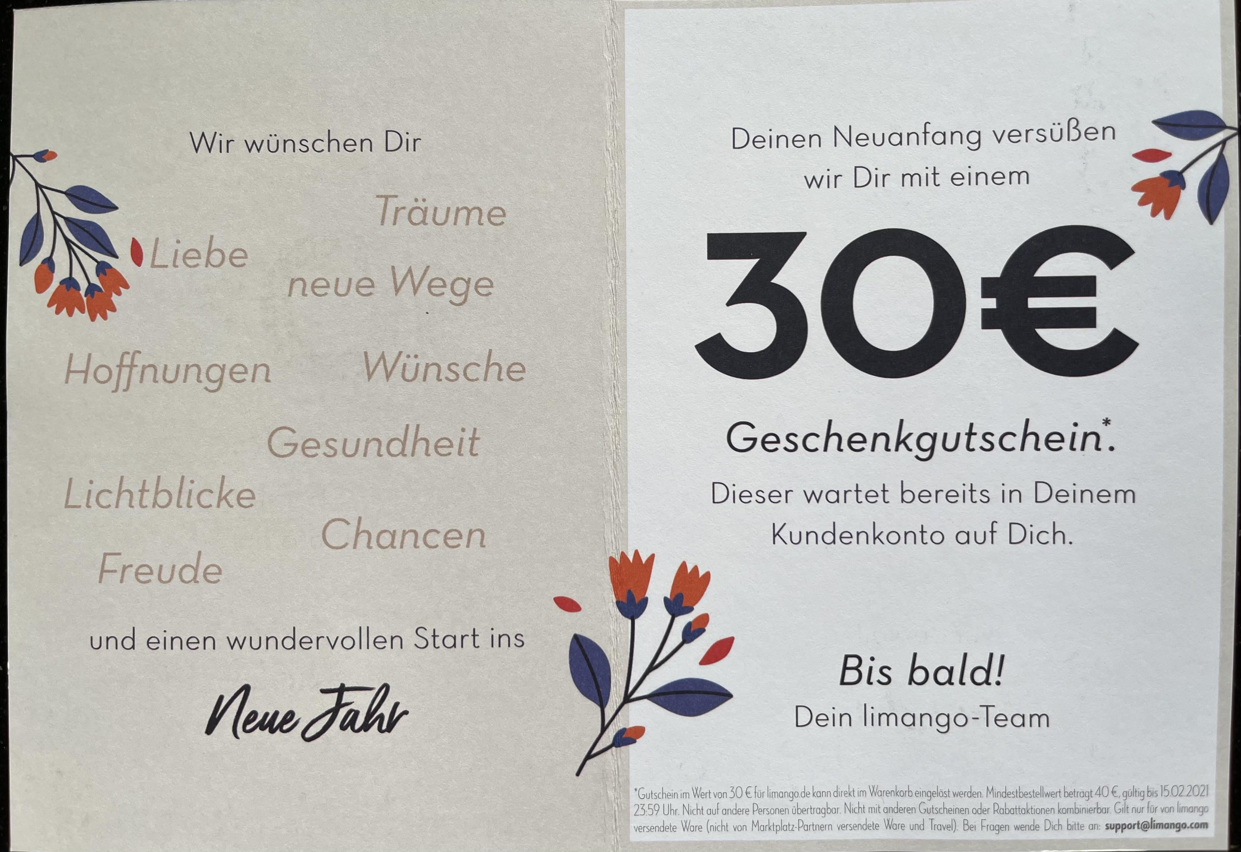 [Personalisiert] 30 Euro Gutschein bei Limango - MBW 40 Euro