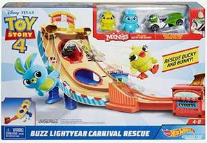 [Amazon Prime] Hot Wheels GCP24 - Disney Pixar Toy Story 4 Buzz Lightyear Jahrmarkt Rettungseinsatz Spielset