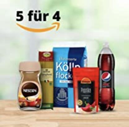 Amazon Lebensmittel: Nimm 5, zahl 4 z.B: 5x Jeden Tag Cashew-Kerne gesalzen je 150g 7,96€
