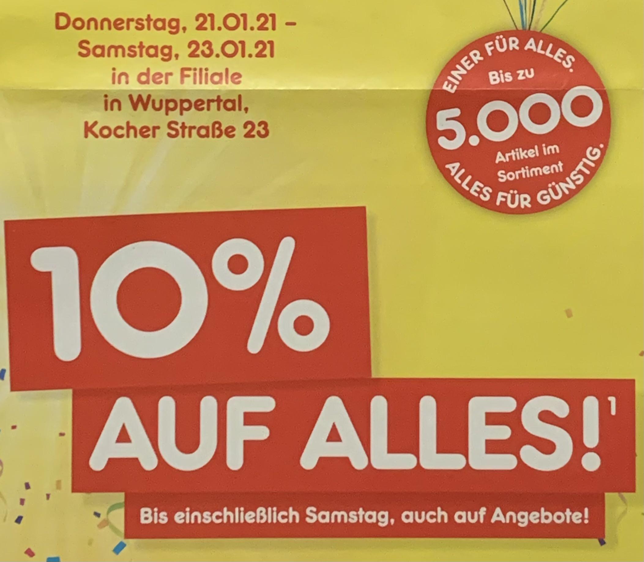 Lokal Wuppertal - Netto Marken-Discount (MD) - 10% auf alles* vom 21.01. - 23.01. -> als Dank für die tolle Neueröffnung