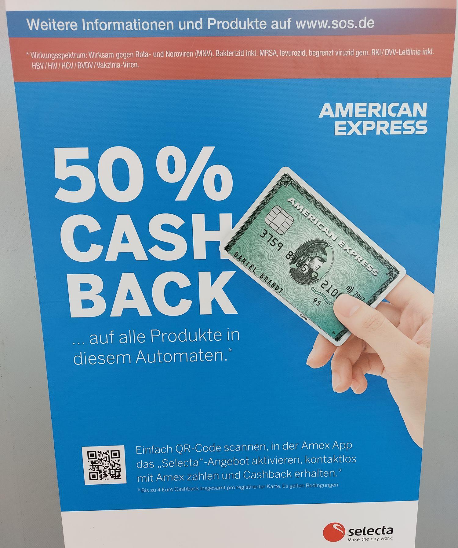 50% Cashback auf alle Produkte an den Selecta Bahnhofsautomaten für Amex Card Inhaber plus Sonderaktion 2 für 1.80€