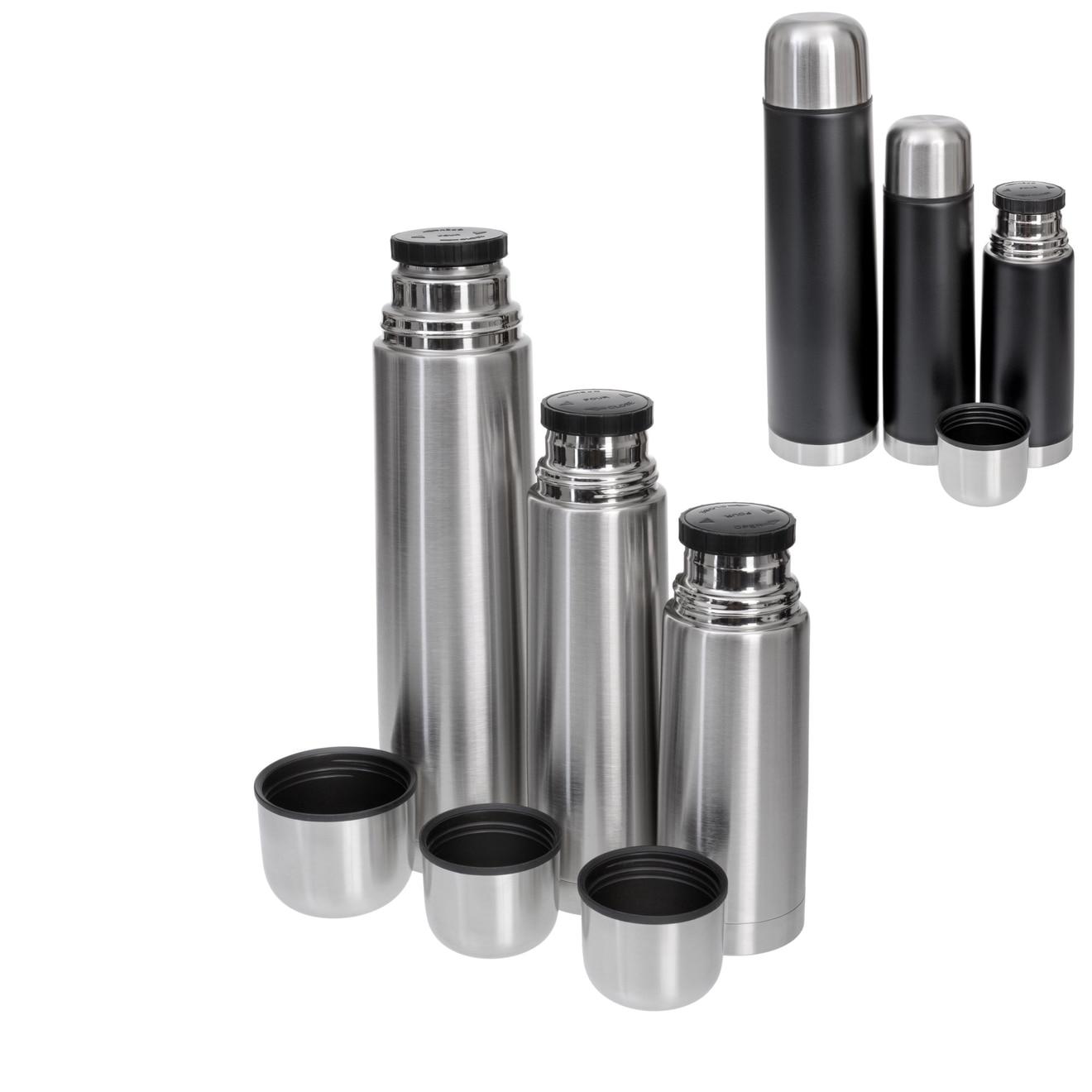 GRÄWE Isolierflaschen-Set THERMOHOME 3er-Set / Edelstahl 18/10 / schwarz oder silber / 3 Größen (1l, 0,5l, 0,35l) + 2 Ersatzdichtungen