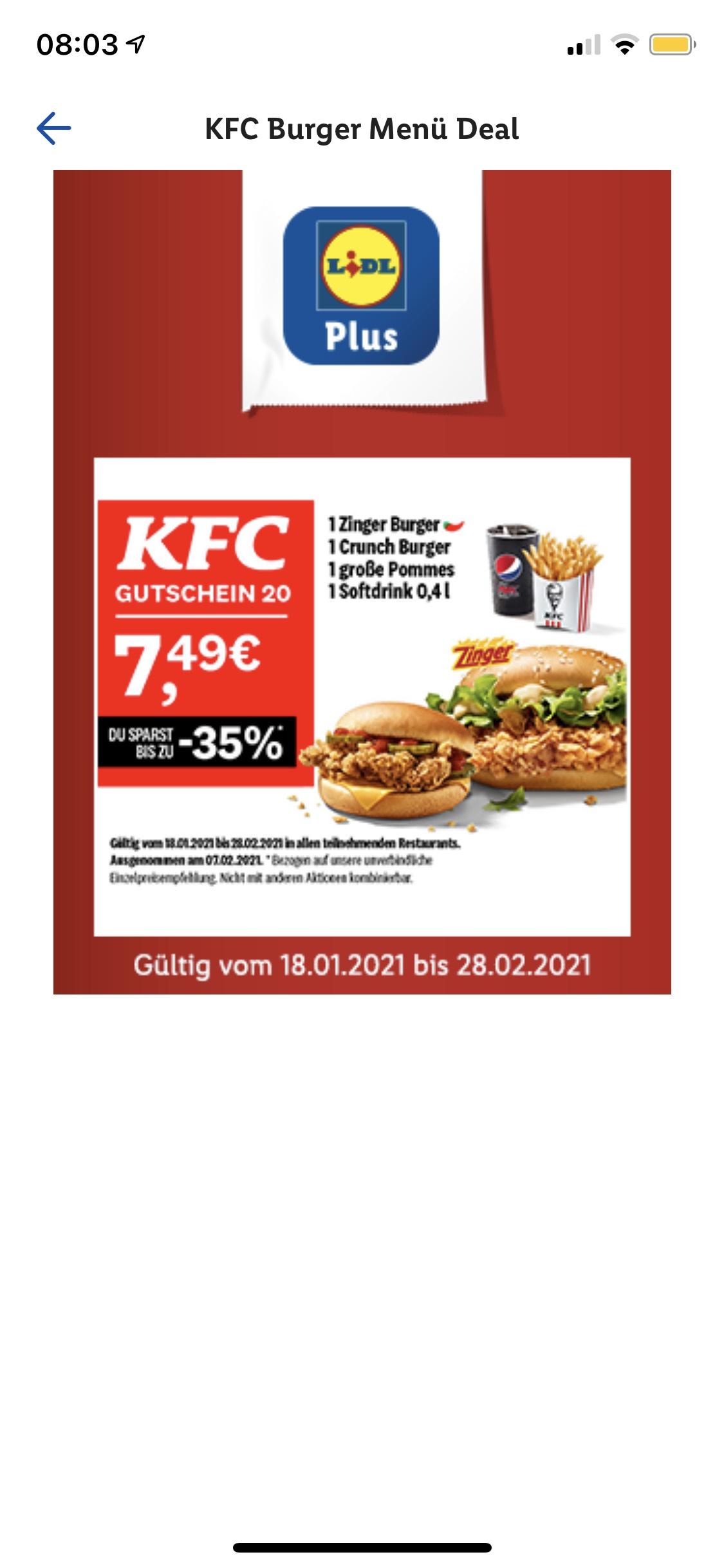 KFC Burger Menü deal verlängert