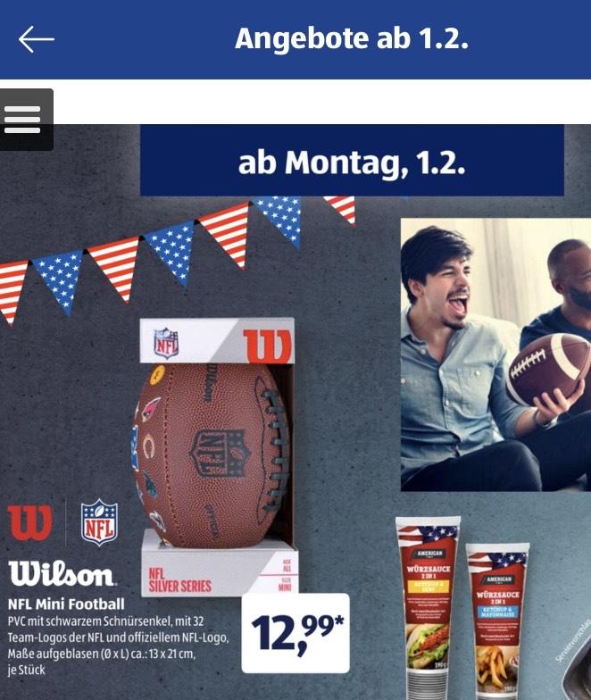 Wilson Football ( NFL Junior Throwback ) Raiders , Partriots 32 Teams ALDI SÜD ab 01.02.2021