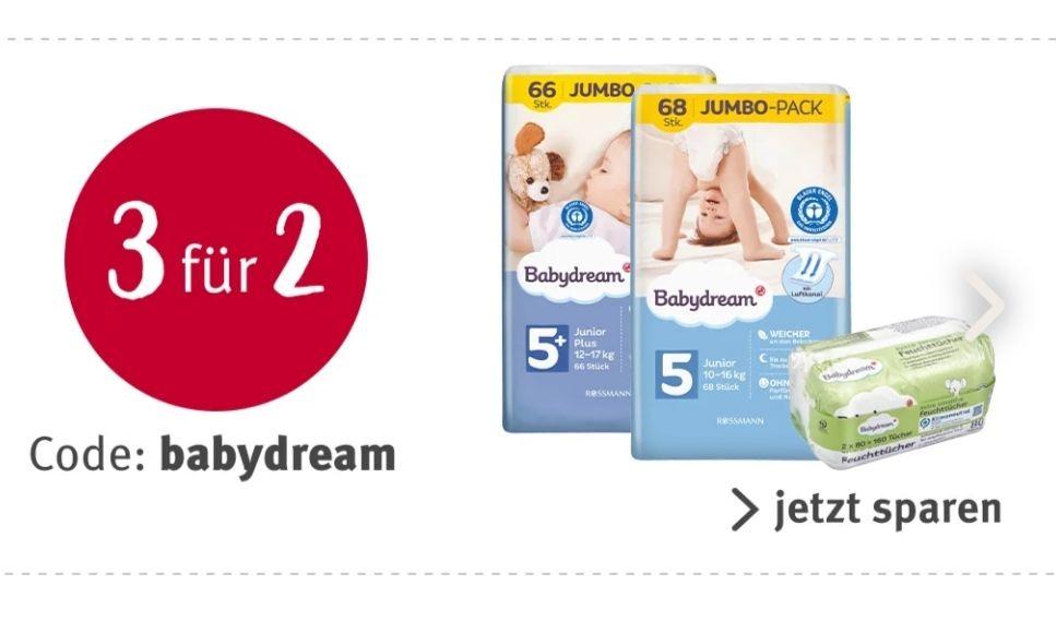 [Rossmann] online und offline - Feuchttücher gratis zu zwei Jumbopacks- Windeln