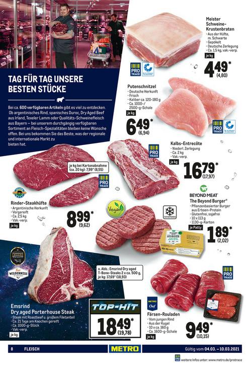 Metro - Argentinische Steakhüfte 9,62 € / 8,55 € Kartonabnahme (Abholung)