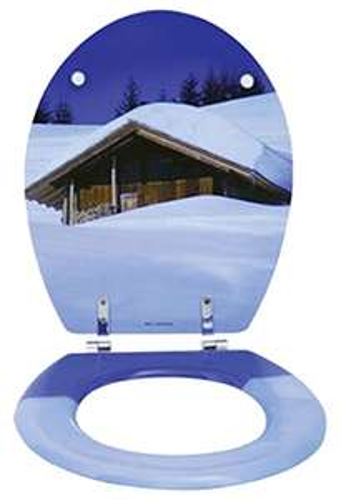 MSV WC-Sitz, Blau mit Holz/MDF Kern (Prime)