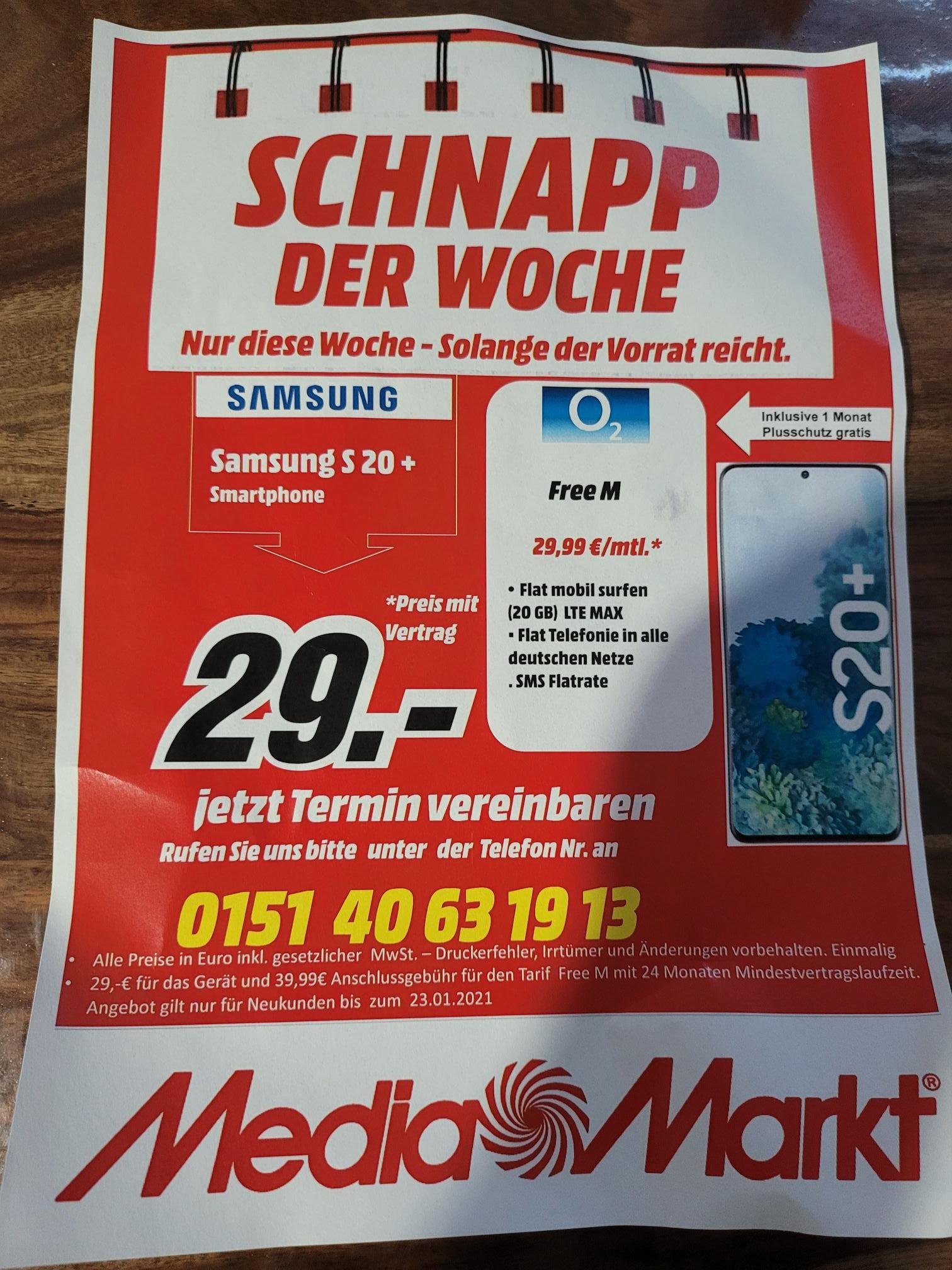 Samsung S20 Plus mit Vertrag im Free M(o2 Netz) (20GB) (Media Markt Düsseldorf)