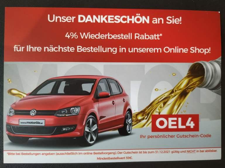 4% Rabatt bei 59€ Mindestbestellwert Motoroele.at