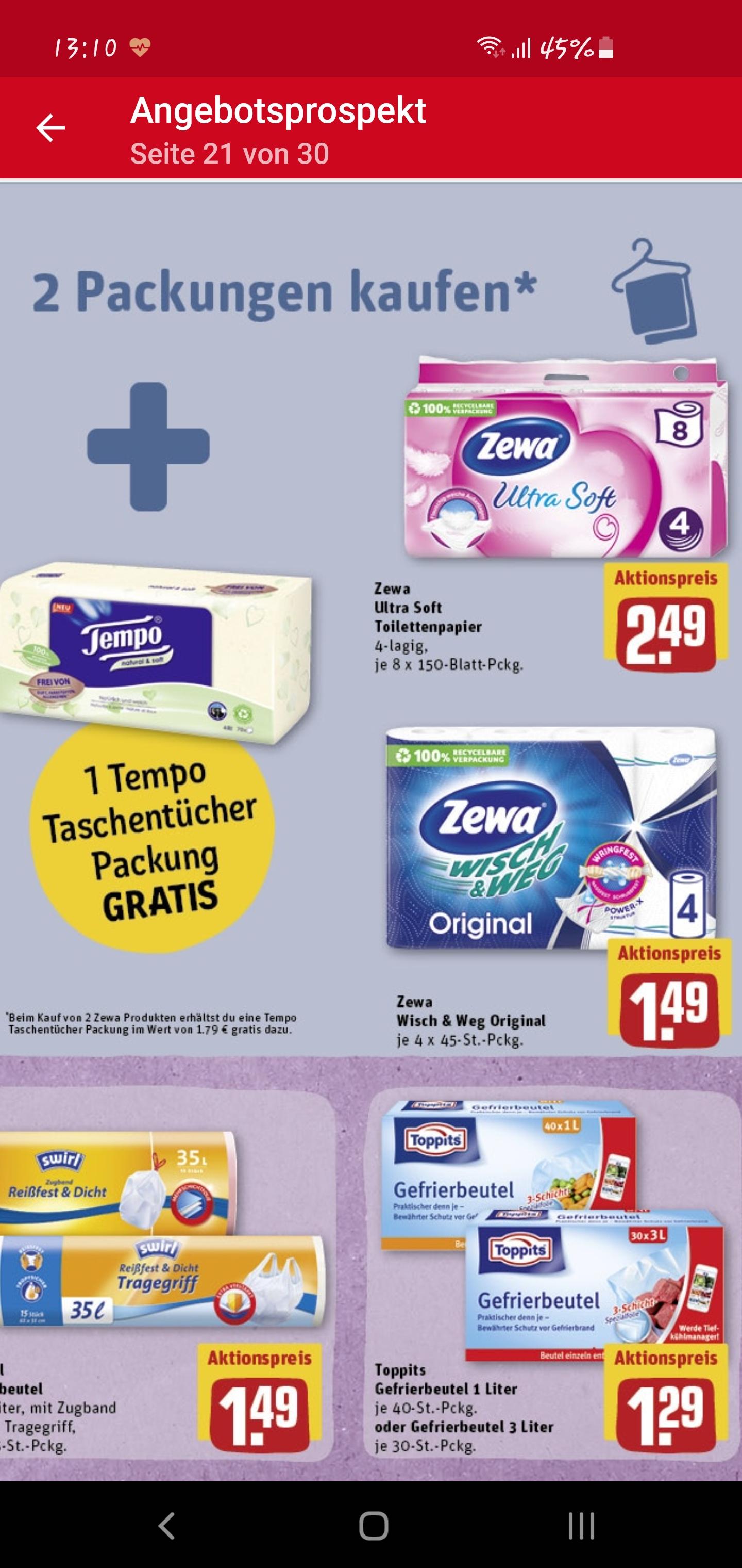 [REWE] 2 Zewa Produkte kaufen + 1x Tempo Taschentücher-Box gratis