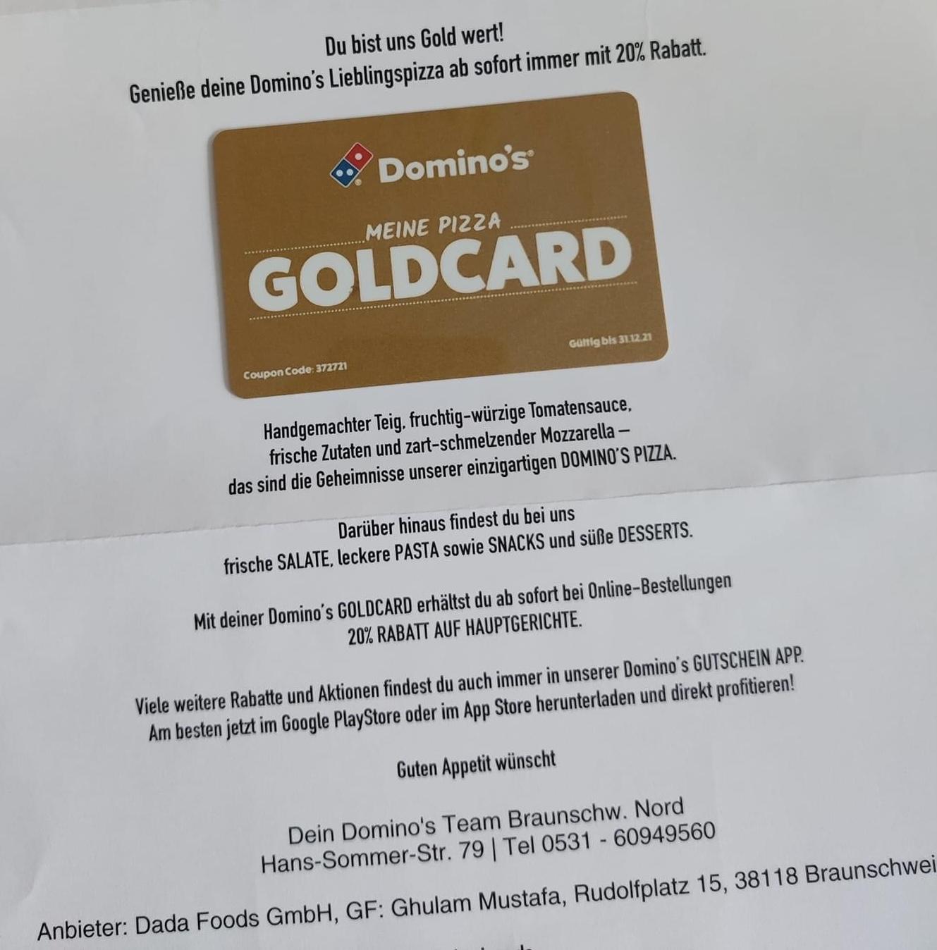 Raum Wolfenbüttel/Braunschweig/Hannover/Dresden/Düsseldorf/Hamburg Dominos Goldcard 2021 20% Rabatt