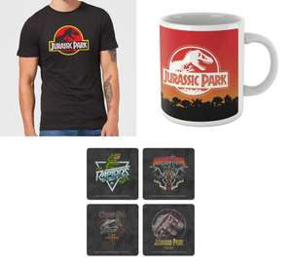 Jurassic Park Bundle: T-Shirt (Gr. S - XXL) & Tasse für 11,48€ + Untersetzerset für 14,48€