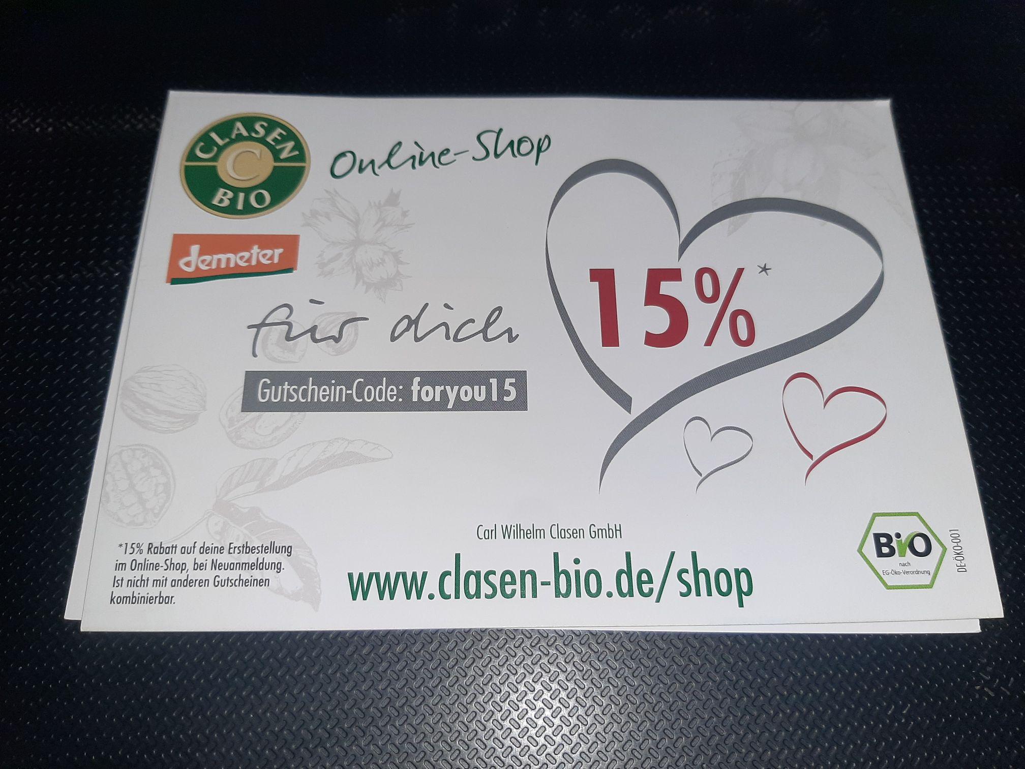 15% Rabatt im Clasen Bio Onlineshop - Neukunden