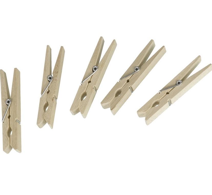 (Prime) Wenko 50 Wäscheklammern aus FSC zertifiziertem Holz