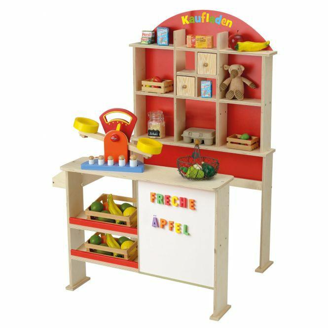 [mifus.de] Beluga Holz-Kaufladen mit roter Rückwand, seitlicher Theke und weißer Magnettafel von Beluga, Maße: ca. 77 x 60 x 110 cm