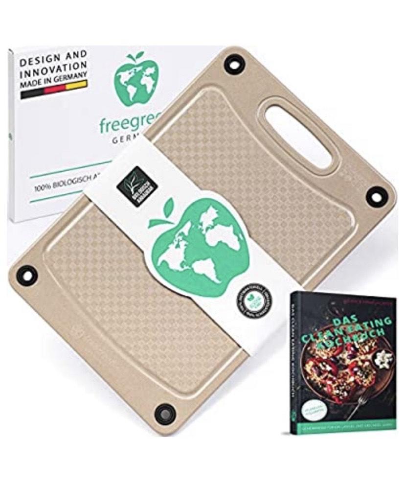 (Prime) freegreen® Premium Schneidebrett 29x19 aus Reishülsen I 100% biologisch abbaubar und kompostierbar