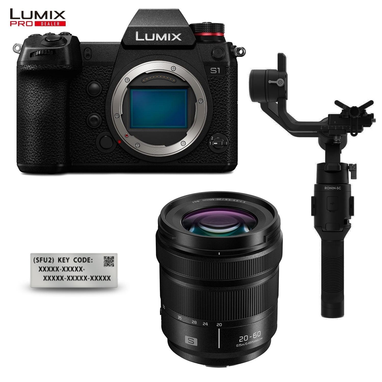 Panasonic Lumix DC-S1 Systemkamera + 20-60mm F3,5-5,6 Objektiv, DJI Ronin SC Gimbal & DMW-SFU2 Upgrade