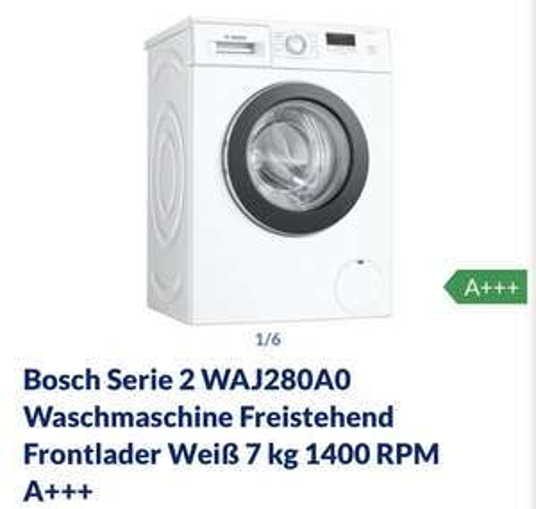 [Metro] Bosch WAJ280A0 Serie 2 Waschmaschine Frontlader / A+++ / 157 kWh/Jahr / 1400 UpM / 7 kg / Weiß
