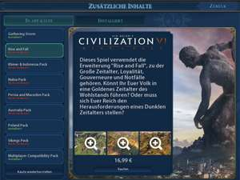 "Civilization VI Add-On ""Rise and Fall"" 50% günstiger"